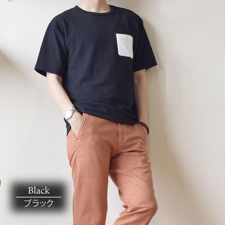 CREATION CUBE 接触冷感 フクレジャガード ポケ付き Tシャツ 0403200-41(ブラック)