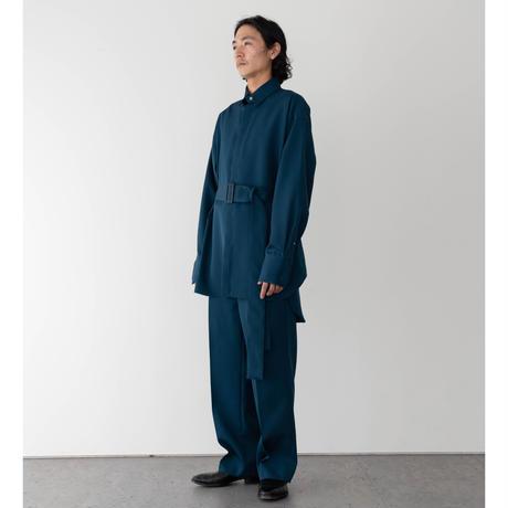 【S.BLUE】WOOL GABARDINE BELTED SHIRT .004