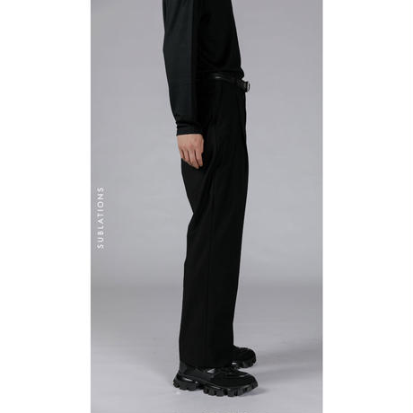 ONE TUCK STRAIGHT TROUSERS .001 BLACK