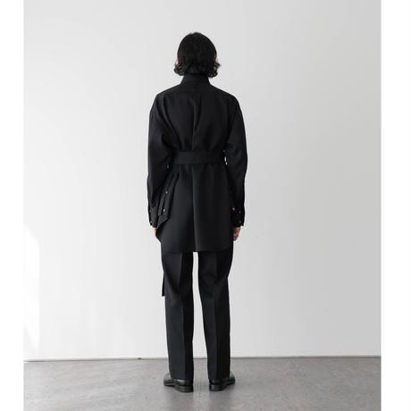 【BLACK】WOOL GABARDINE BELTED SHIRT .004