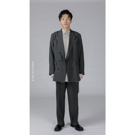 GRAY ONE TUCK STRAIGHT TROUSERS .001