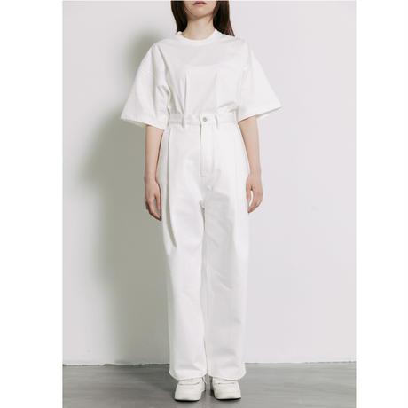 【WHITE】2TUCK WIDE DENIM PANTS -ENTASIS- .003