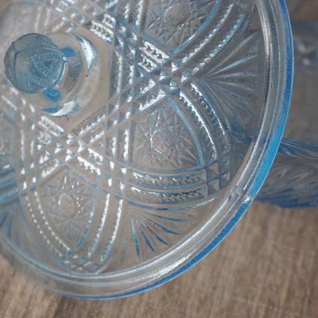 プレスガラスのキャンディポット