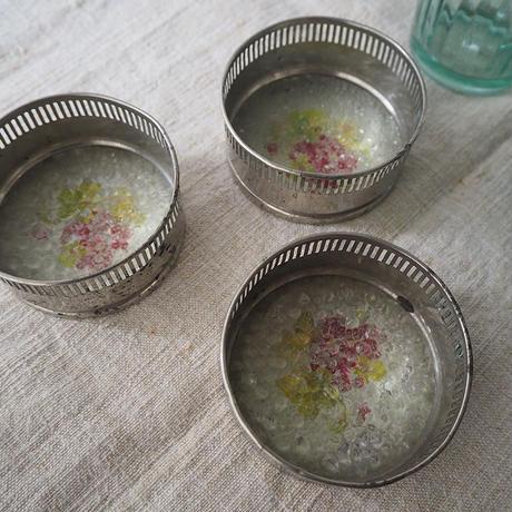 葡萄柄のダイヤガラスコースター(3点セット)