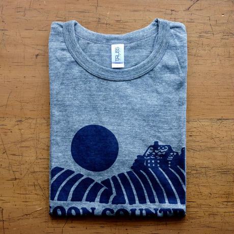FULL MOON T-Shirts Gray×Navy L
