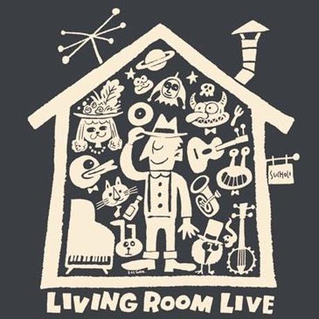 LIVING ROOM LIVE T-Shirts Black×Ivory  M