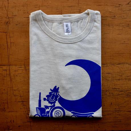 TRACTOR T-Shirts Oatmeal×Blue S
