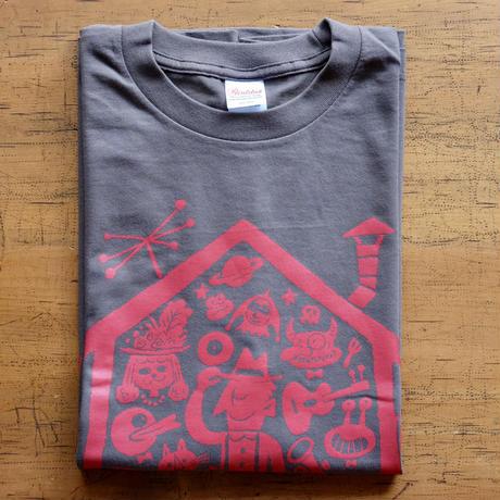 LIVING ROOM LIVE T-Shirts Charcoal×Radish  M