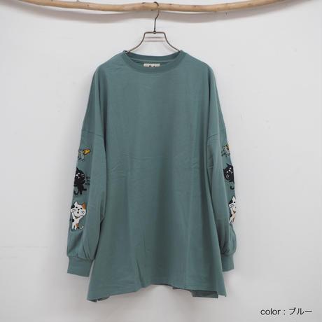 袖ネコ&ネズミ刺BIGロングTシャツ[41120297]