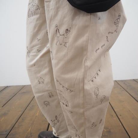 刺繍入りツイルタックパンツ(41149004)
