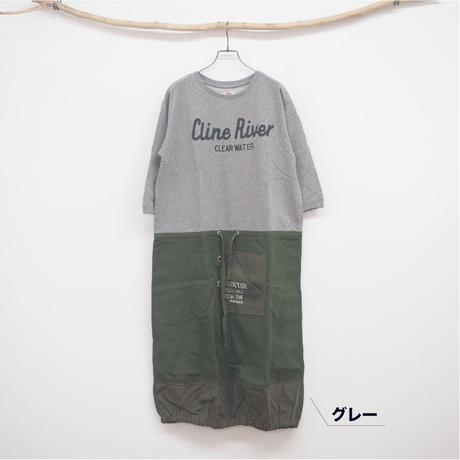 裏毛布帛切替ワンピース(41118326)【LIME,INC】