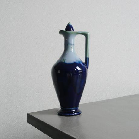 Blue ceramic bottle