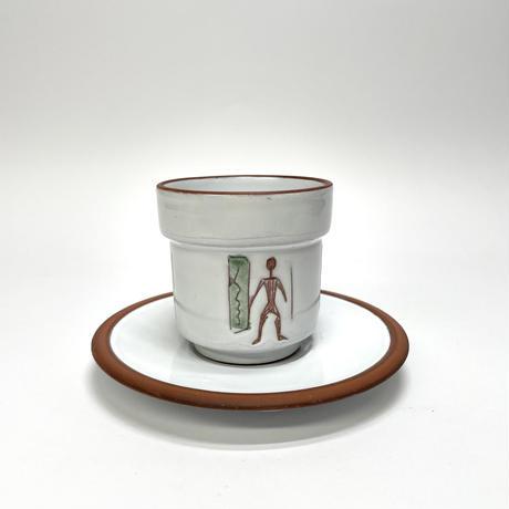 人柄のカップ&ソーサー・緑
