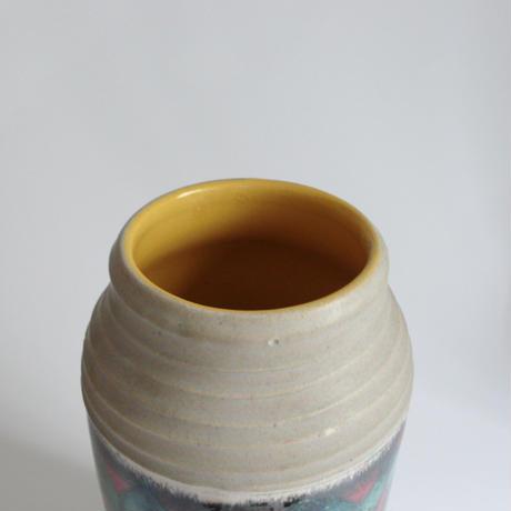 Gray and yellow ceramic vase