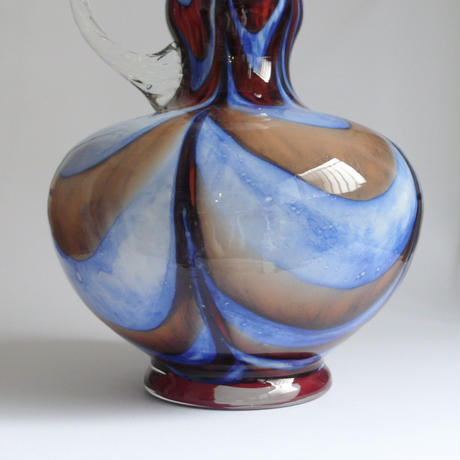 Blue and brown glass vase