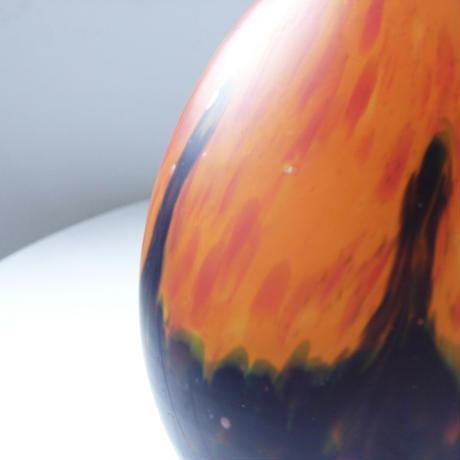 Orange and navy blue glass vase