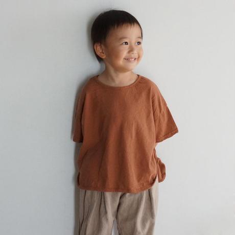 ラウンドヘムTシャツ (ブラウン)