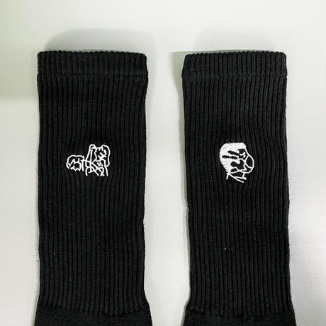 【Ryohei Kaneda】Instructional Graphics 刺繍靴下(ブラック)