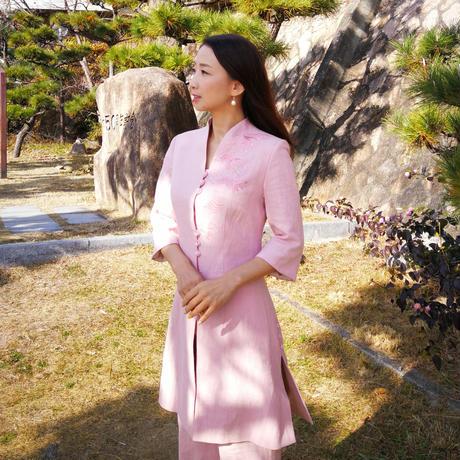 【10%OFF】翠苑 松竹梅刺繍 レディースリネンウェア上下セット 薄桜色