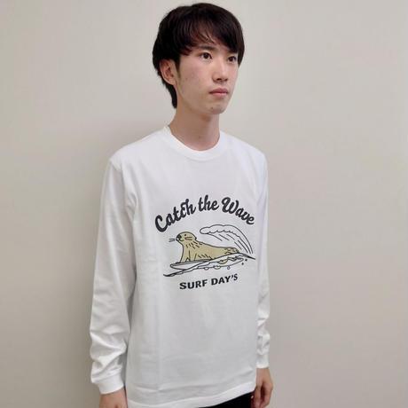 ロングTシャツ(ラッコ Catch the Wave)- ホワイト