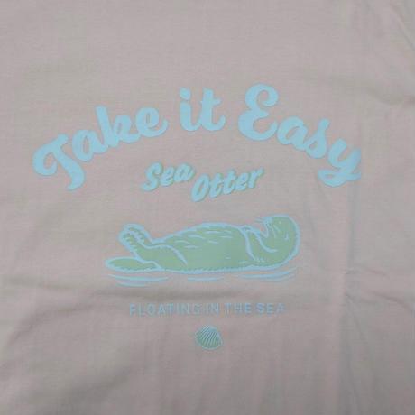 ロングTシャツ(ラッコ Take it Easy)- オフピンク