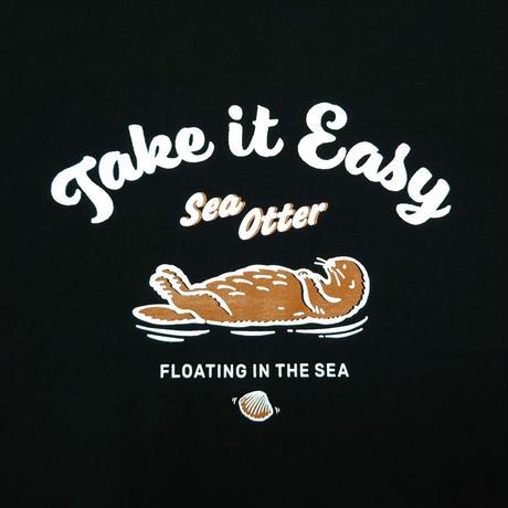 ロングTシャツ(ラッコ Take it Easy)- ブラック