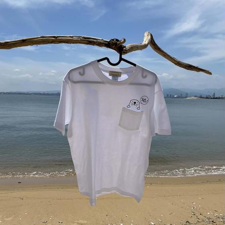 ポケット付Tシャツ(ラッコ)- ホワイト