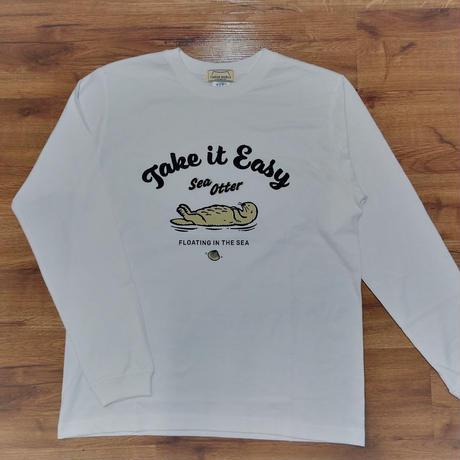 ロングTシャツ(ラッコ Take it Easy)- ホワイト