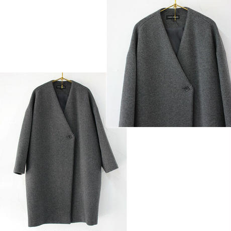TRAVAIL MANUEL トラバイユマニュアル バルキーモッサVネックコート ♯チャコールグレー