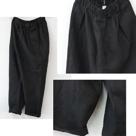 TRAVAIL MANUEL リネンへリンボンサドルパンツ #ブラック、オリーブ 【送料無料】