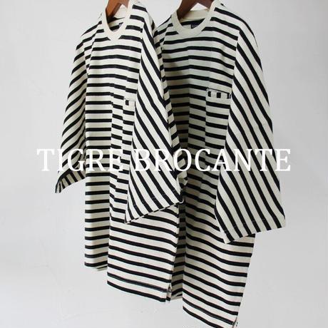 Tigre Brocante ティグルブロカンテ バスクボーダーストールマン5分袖Tシャツ #生成りxブラック 【送料無料】