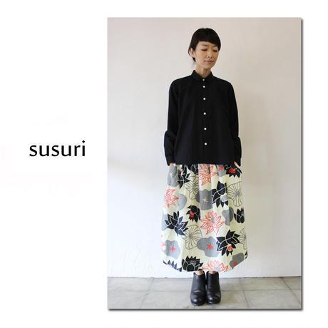 **再入荷**susuri ススリ コットンタイプライターサージョンシャツ #ホワイト,ブラック 【送料無料】
