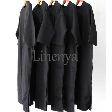 LinenYa リネンヤ  Tシャツワンピース #ブラック、ネイビー、カーキ、エクリュ 【送料無料】