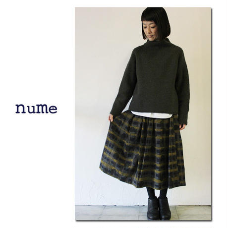 nume ヌメ monoLABO ドットネルチェック起毛スカート ♯ネイビー 【送料無料】