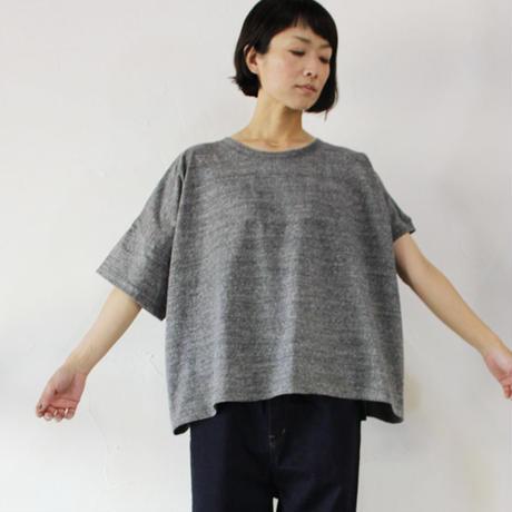 TRAVAIL MANUEL ラフィー天竺アシメスリーブTシャツ  #ヘザーグレー、ブラック