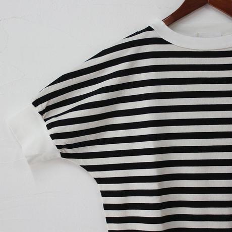 homspun ホームスパン 40/2天竺ボーダーハイネック半袖プルオーバー #オフホワイトxブラック