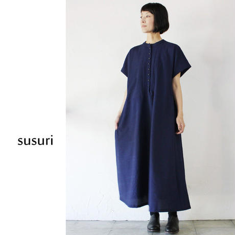 susuri ススリ アンゴロワンピース ♯ネイビー【送料無料】