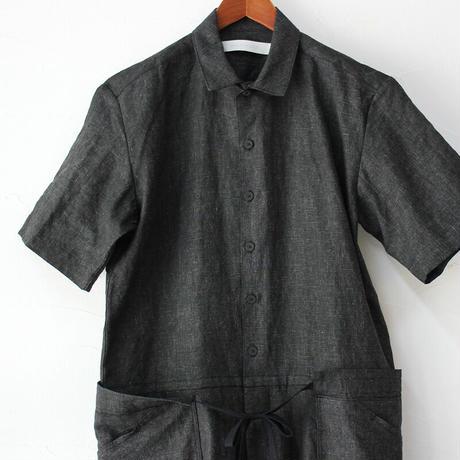 ASEEDONCLOUD アシードンクラウド Ash dyeing linen sakurashi jumpsuit  #ブラック 【送料無料】