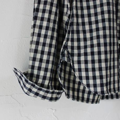 Tigre Brocante ティグルブロカンテ Indigoギンガムチェックスタンドカラーシャツ #インディゴ 【送料無料】