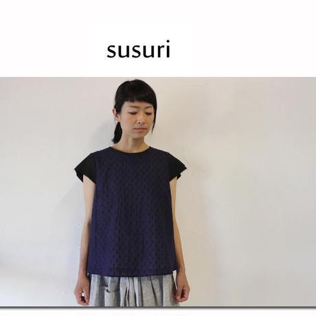 susuri ススリ スリップブラウス #ネイビー 【送料無料】