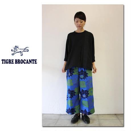 Tigre Brocante ティグルブロカンテx石北有美 HASUツイルレディースワイド8分丈パンツ ♯ブルー【送料無料】