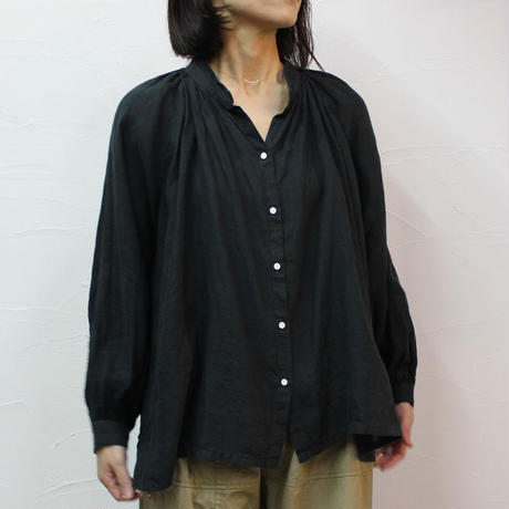 ARTE POVERA アルテポーヴェラ リネン染めギャザリングシャツ #ブラック、赤ピンク 【送料無料】