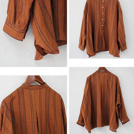 ARTE POVERA アルテポーヴェラ リネンストライプスタンドシャツ #白、レンガ、ネイビー 【送料無料】