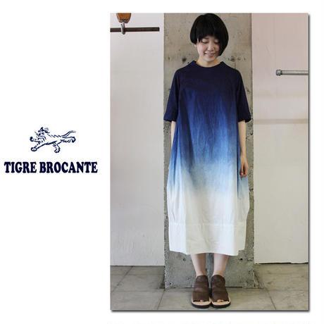 Tigre Brocante ティグルブロカンテ 段染めボトルネックバルーンワンピース ♯インディゴ【送料無料】