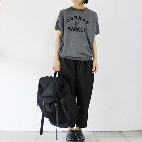 TRAVAIL MANUEL トラバイユマニュアル ハイゲージ天竺アシメプリントTシャツ ♯ナチュラル、チャコールグレー、ネイビー