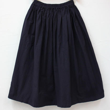 homspun ホームスパン コットンオックスダブルポケットギャザースカート #ネイビー、ホワイト 【送料無料】