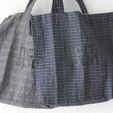 homspun ホームスパン C/Lチェックロゴプリント入りトートバッグ #グレーチェック、ネイビーチェック