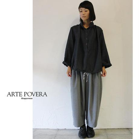 ARTE POVERA アルテポーヴェラ リネングレンチェックバルーンシャツ ♯生成りx黒、グレーx黒 【送料無料】