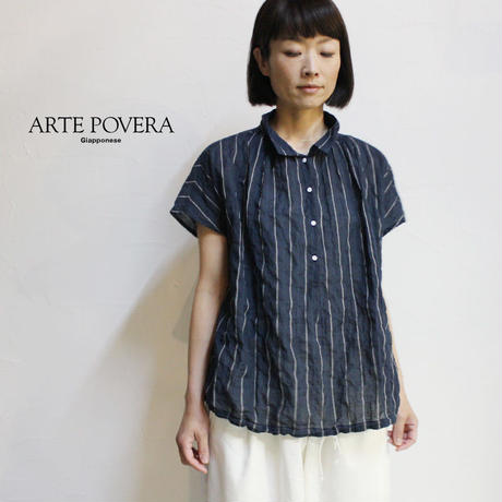 ARTE POVERA アルテポーヴェラ コットン&リネンバルーンシャツ ♯ネイビーストライプ 【送料無料】