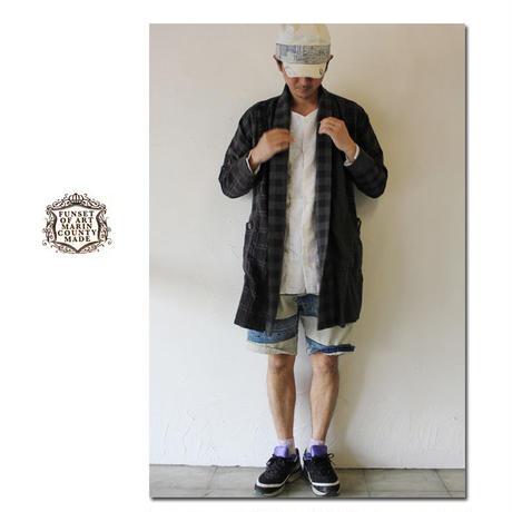 FUNSET OF ART ファンセットオブアート 綿レーヨンクレイジーチェックKIMONOコート #ブラックチェック【送料無料】